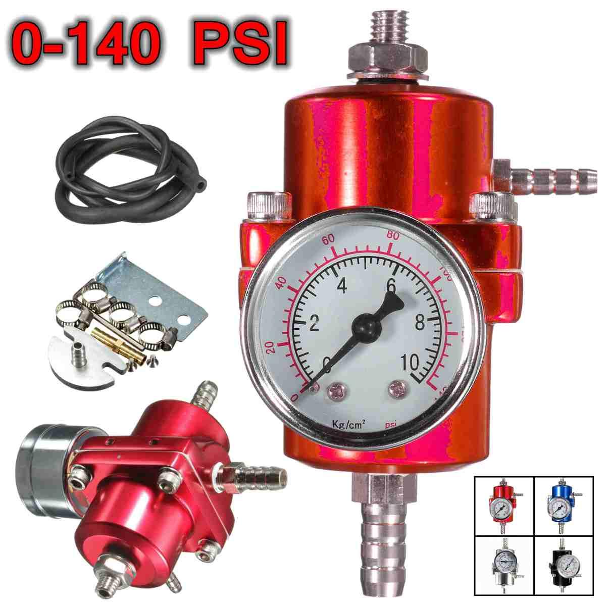black blue red silver 0-140PSI Universal Car Fuel Pressure Regulator With Gauge Adjustable Oil Pressure Regulator